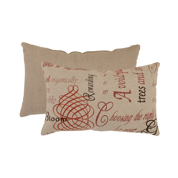 Pillow Perfect Linen/ Red French Laundry Rectangular Throw Pillow