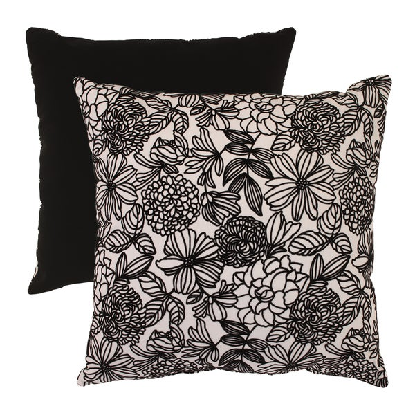 Pillow Perfect Black/ White Flocked Floral Floor Pillow