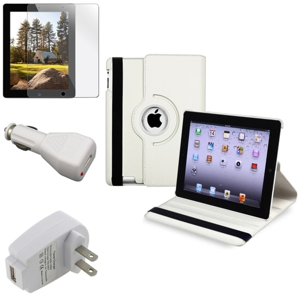 White Swivel Case/ Protector/ Travel/ Car Charger for Apple iPad 3