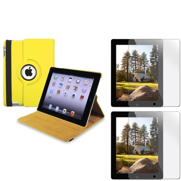Yellow Leather Swivel Case/ Screen Protector Set for Apple iPad 3