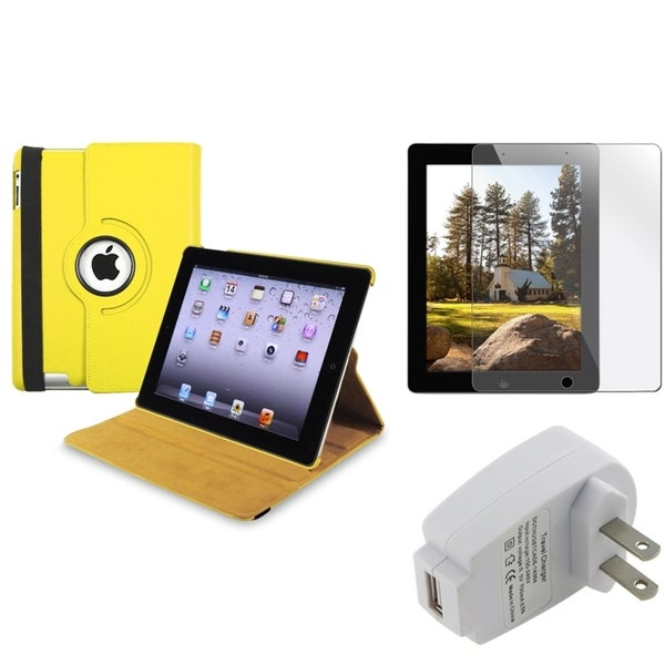 Yellow Swivel Case/ Protector/ Travel Charger for Apple iPad 3