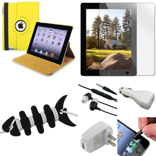 Yellow Case/ LCD Protector/ Headset/ Chargers/ Stylus for Apple iPad 3
