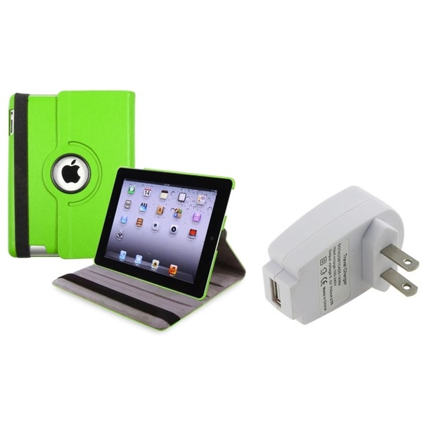 INSTEN Green Swivel Tablet Case Cover/ Travel Charger Adapter for Apple iPad 3
