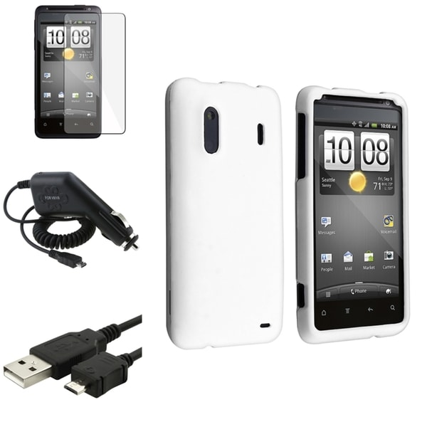 INSTEN White Case Cover/ Screen Protector/ Charger/ Cable Bundle for HTC EVO Design 4G