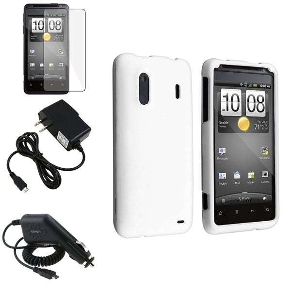 INSTEN White Rubber Case Cover/ Screen Protector/ Chargers for HTC EVO Design 4G