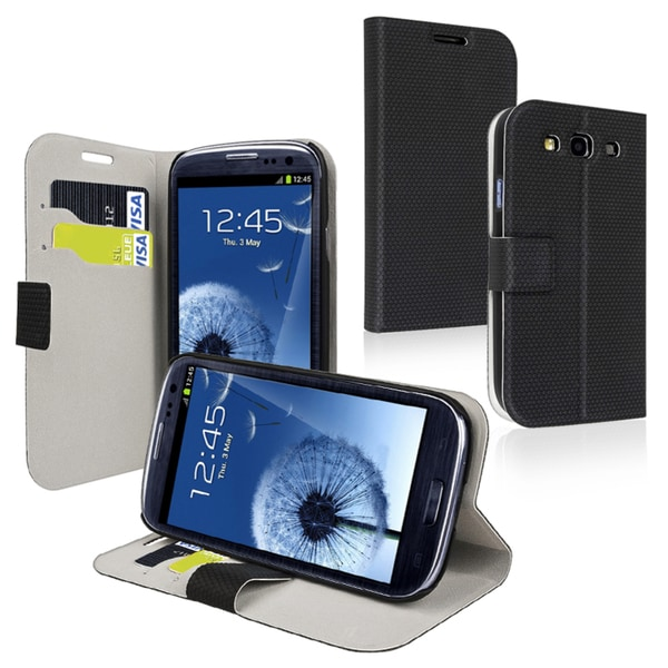 INSTEN Black Phone Case Cover with Card Holder for Samsung Galaxy S III/ S3 i9300