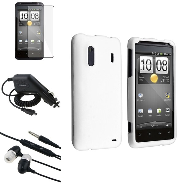 INSTEN White Case Cover/ Screen Protector/ Headset/ Charger for HTC EVO Design 4G