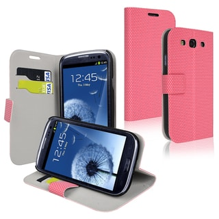 INSTEN Pink Phone Case Cover with Card Holder for Samsung Galaxy S III/ S3 i9300