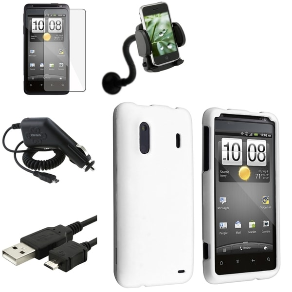 White Case/ Screen Protector/ Charger/ Mount for HTC EVO Design 4G