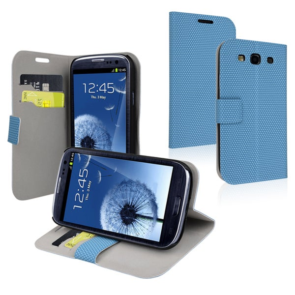 BasAcc Blue Case with Card Holder for Samsung Galaxy S III/ S3 i9300