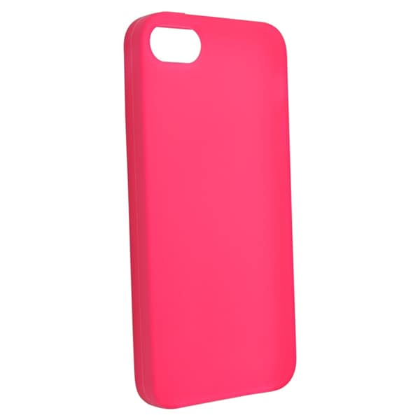 INSTEN Hot Pink Soft Silicone Phone Case Cover for Apple iPhone 5