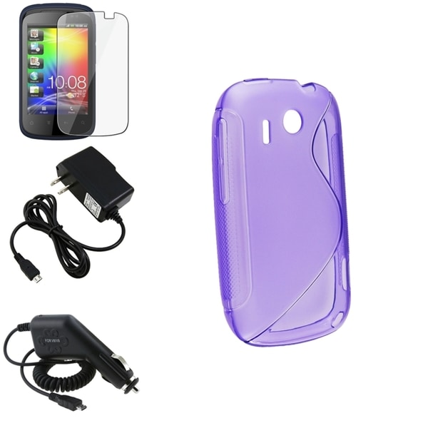 Purple Case/ Screen Protector/ Chargers for HTC Explorer