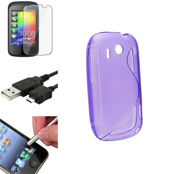 Purple Case/ Screen Protector/ Cable/ Stylus for HTC Explorer