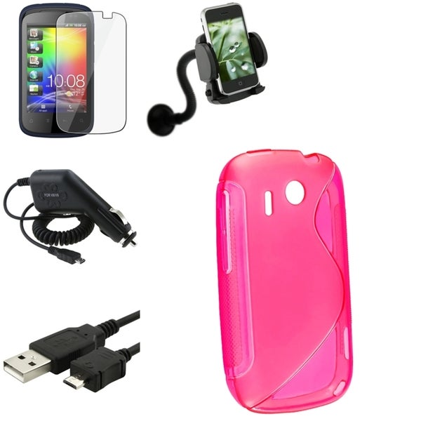 Pink Case/ Screen Protector/ Charger/ Cable/ Mount for HTC Explorer