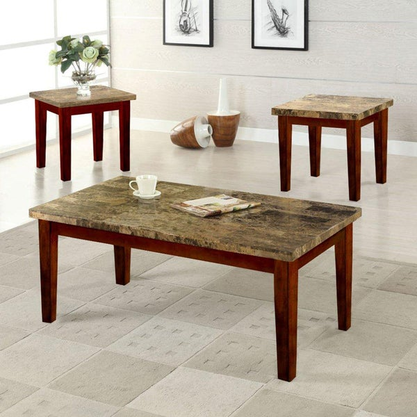 3-piece Cherry Marble Finish Cocktail End Tables Set