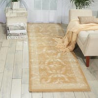 Nourison Hand-tufted Symphony Bordered Gold Rug (2'3 x 8')