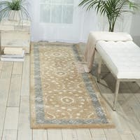 "Nourison Hand-tufted Symphony Brocade Taupe Rug - 2'3"" x 8'"