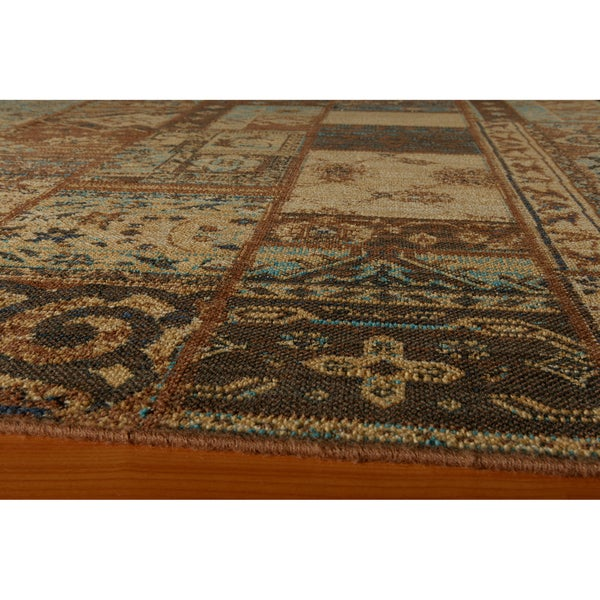 "Vintage Silas Patchwork Light Blue/Brown New Zealand Wool Rug  (2'7"" x 4'7"")"