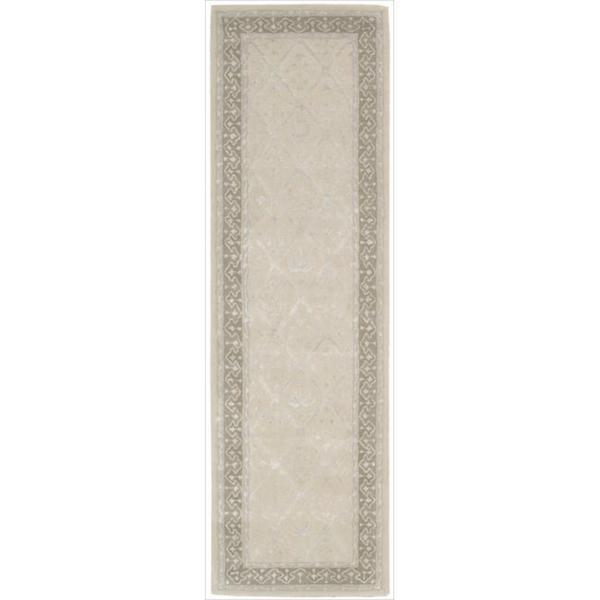 Nourison Hand-tufted Symphony Brocade Bordered Sand Rug (2'3 x 8')