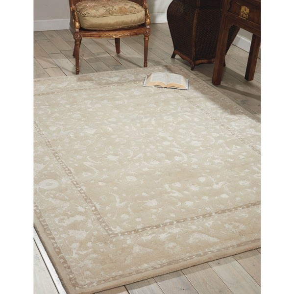 Nourison Hand-tufted Symphony Brocade Ivory Rug (7'6 x 9'6) - 7'6 x 9'6