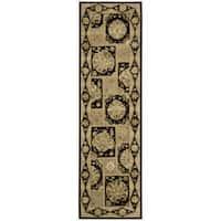 "Nourison 3000 Traditional Hand-Tufted Black Runner Rug (2'6"" x 12')"