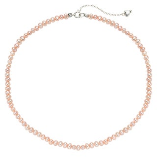 Pearlyta Sterling Silver Children's Freshwater Pearl Strand Necklace with Heart Charm (4-5 mm)