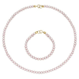 Pearlyta 14k Gold Cultured Freshwater Pearls Kid's Flower Girl Necklace and Bracelet Set