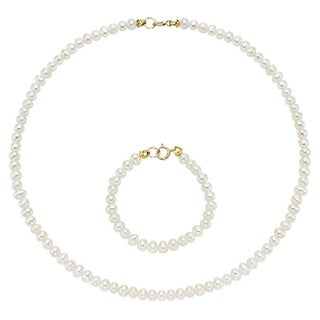 Pearlyta 14k Gold Cultured Freshwater Pearls Kid's Flower Girl Necklace and Bracelet Set - White