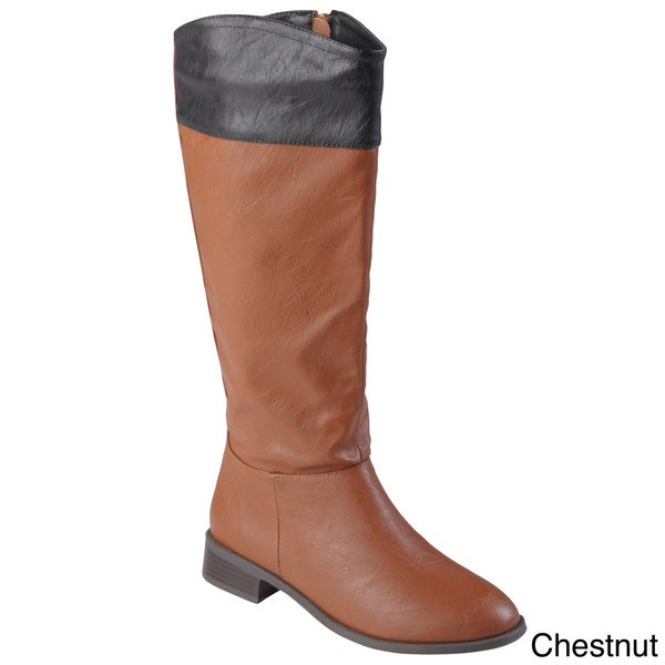 Journee Collection Women's 'Laura' Color Blocked Round Toe Boots