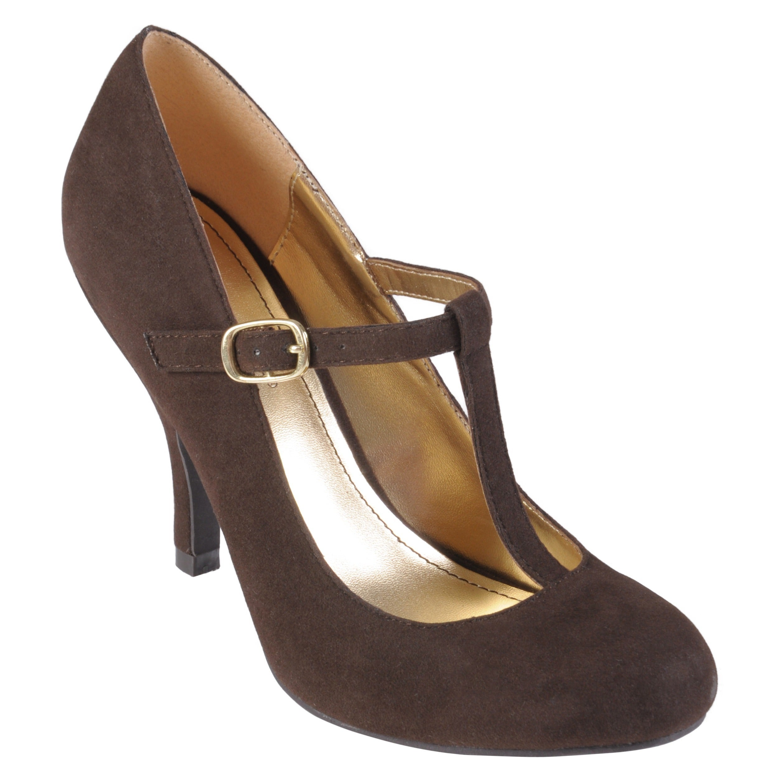 Journee collection Women's 'Lisa' Sueded T-strap Round To...