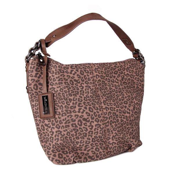 Miadora Brown 'Tara' Leopard Print Hobo Bag