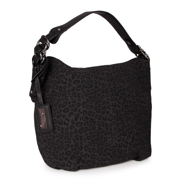 Miadora Black 'Tara' Leopard Print Hobo Bag