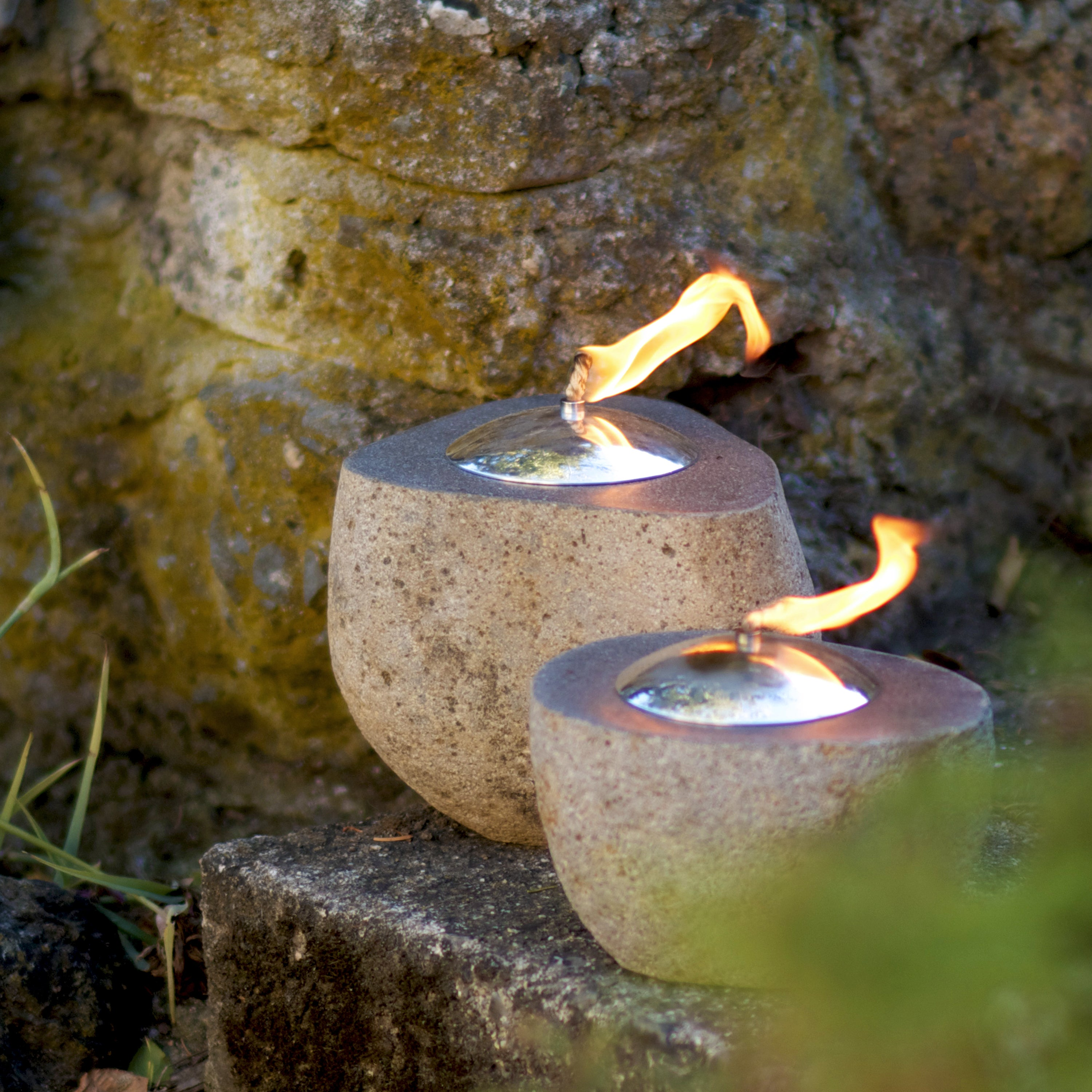 Carved Oil Lamp Handmade Lantern Natural River Stone Patio LIghting ... for Natural Oil Lamp Decorations  111bof