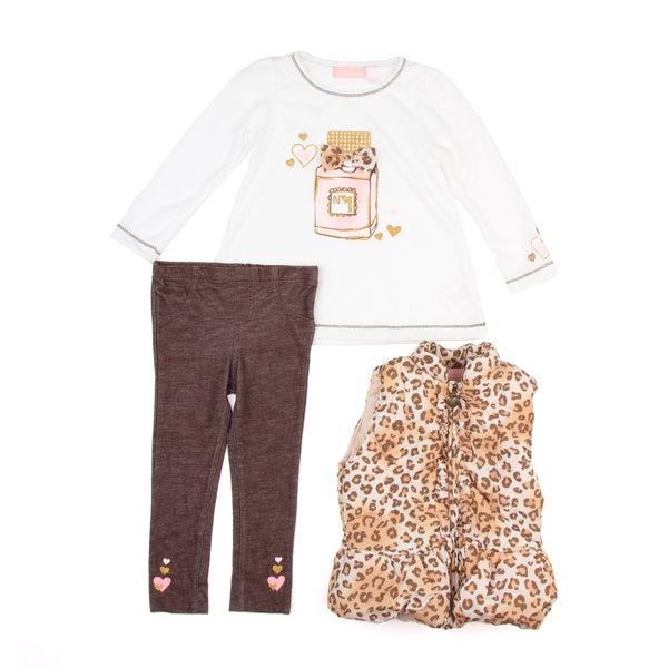 Kids Headquarters Toddler Girl's Cheetah Three-Piece Brown/White Set FINAL SALE