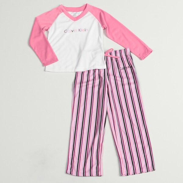 Calvin Klein Girl's Pink/ White Sleepwear Set