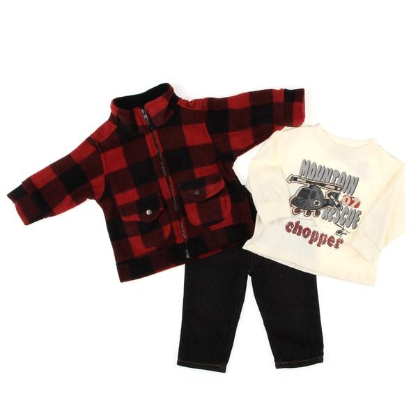 Kids Headquarters Infant Boy's Plaid 3-piece Set FINAL SALE
