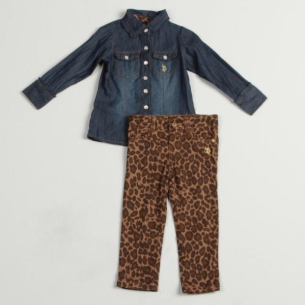 US Polo Toddler Girls' 2-piece Denim Buttton Up Leopard Print Pants Set