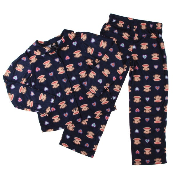 Small Paul by Paul Frank Girls' 2-piece Monkey Face Print Pajama Set FINAL SALE