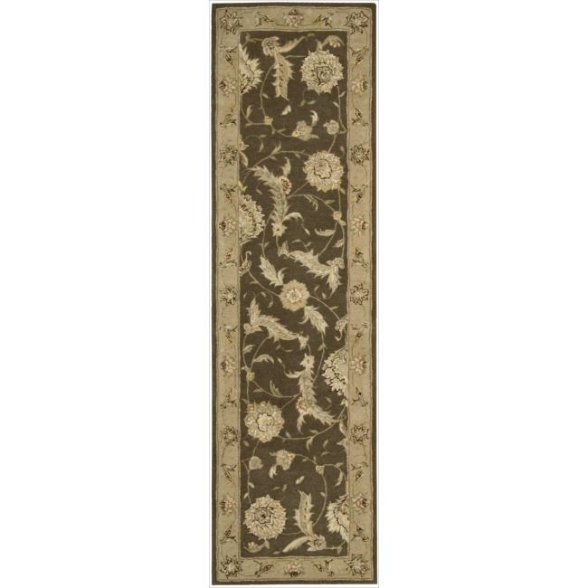 Nourison 3000 Hand-tufted Brown Wool Rug (2'6 x 12') Runner