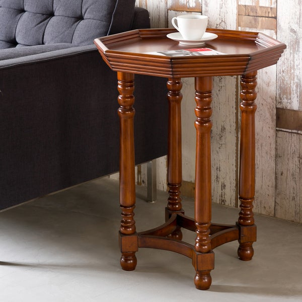 Dark Wood Spool Leg Octagon End Table