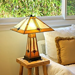 Bronze Finish Glass Tiffany Style Golden Mission Table Lamp with Lit Base