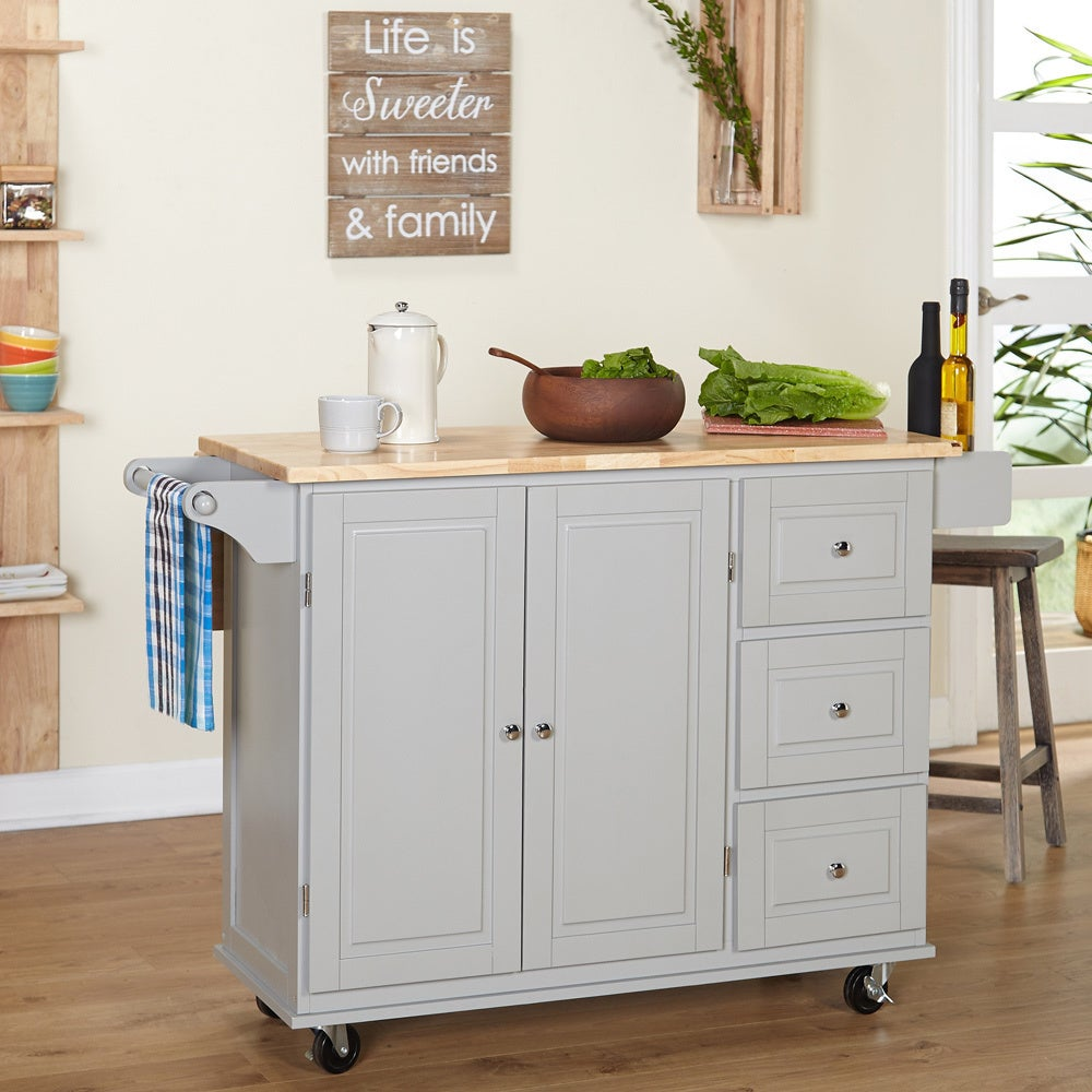 Aspen Three Drawers Kitchen Cart, Black/Natural