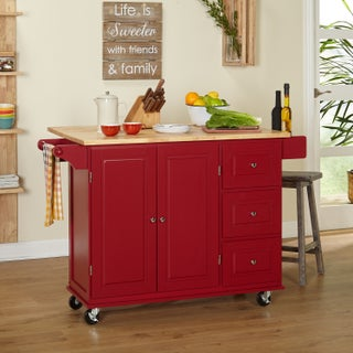 The Gray Barn Pitchfork 3-drawer Drop Leaf Kitchen Cart (4 options available)