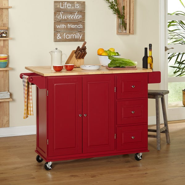 Simple Living Aspen 3 Drawer Drop Leaf Kitchen Cart   Free Shipping Today    Overstock.com   14701627