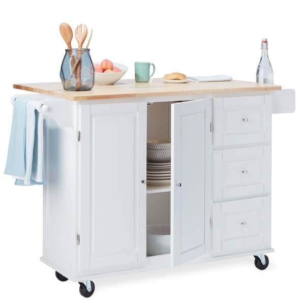 Etonnant Aspen Three Drawers Kitchen Cart, Black/Natural