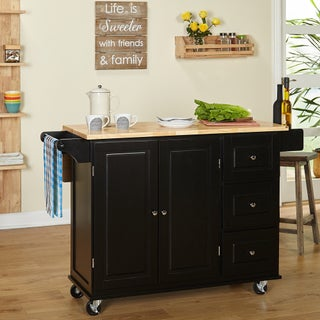 Aspen Three Drawers Kitchen Cart, Black/Natural (Option: Black/Natural Kitchen Cart)