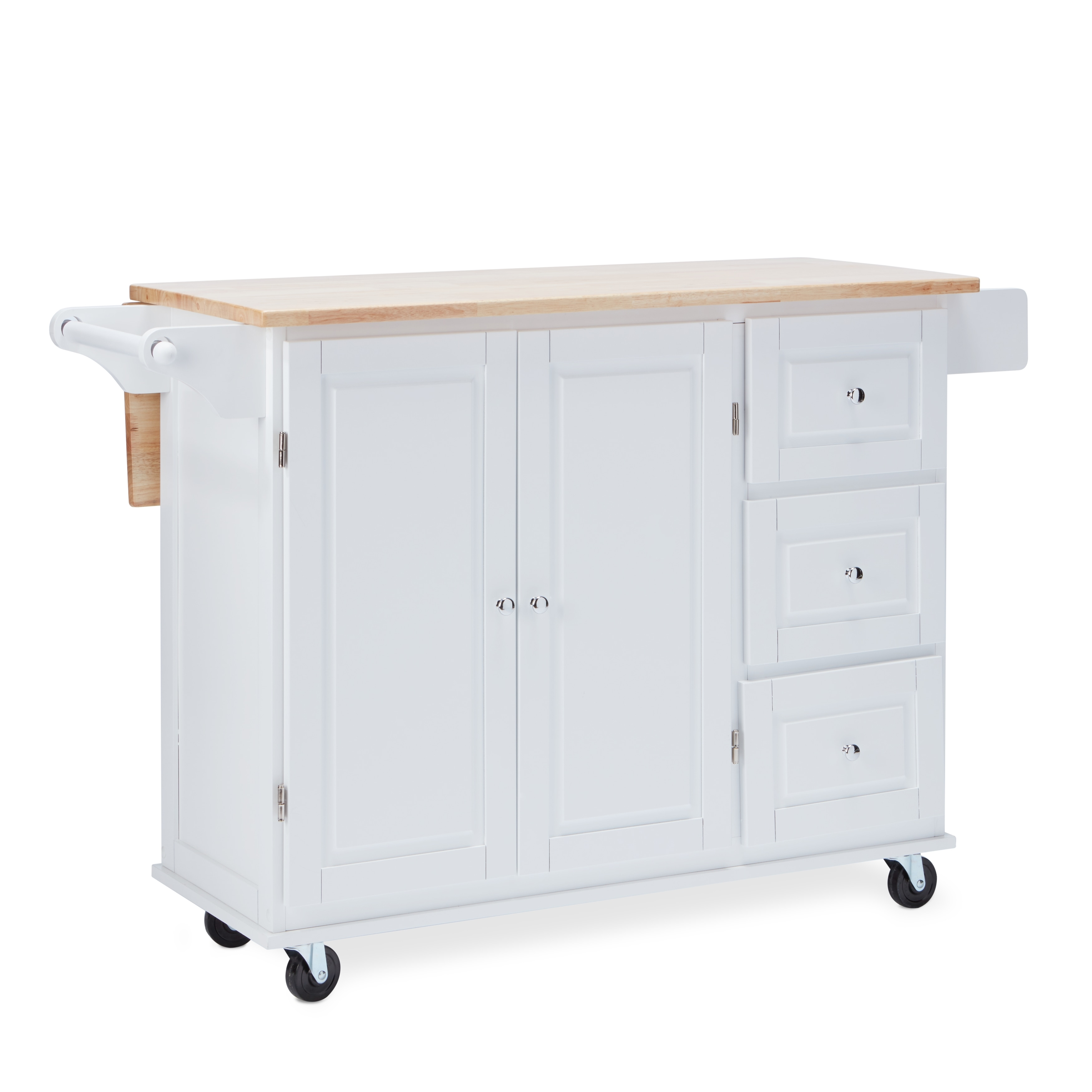 Simple Living Aspen 3-drawer Drop Leaf Kitchen Cart (White)