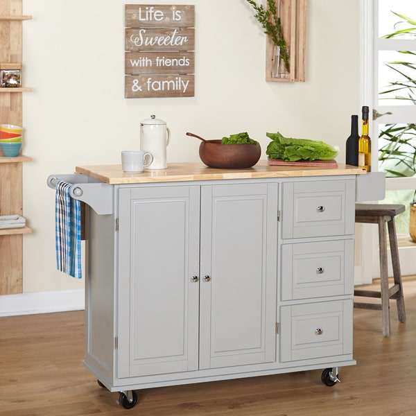 kitchen island with drawers and cabinets simple living aspen 3 drawer drop leaf kitchen cart free 9434