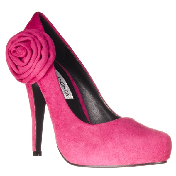 Riverberry Women's Microsuede Rosette-detail Hidden Platform Heels