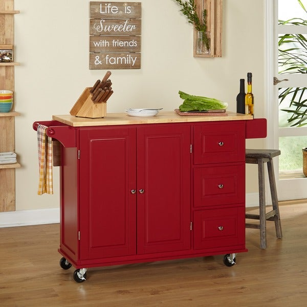 Simple Living Aspen Red/ Natural Three-drawer Cart